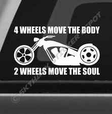 2 Wheels Move The Soul Bumper Sticker Vinyl Decal Motorcycle Cruiser Chopper Bik