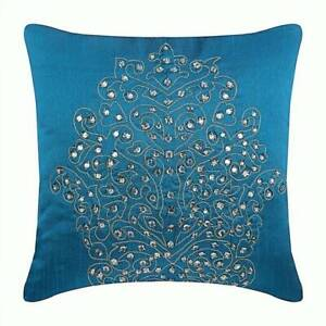 """Couch Pillow Cover 16""""x16"""" Art Silk Luxury Royal Blue - Damask"""