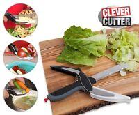 ds Clever Cutter 2 In 1 Forbici Coltello Tagliere Da Cucina Taglia Verdure linq