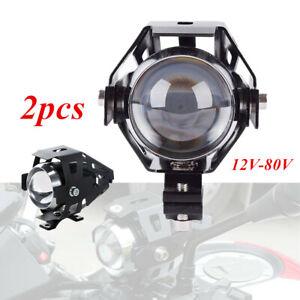 2PCS 12-80V Motorcycle LED Headlight Driving Fog U5  Lights Spot Lamp+Switch Set