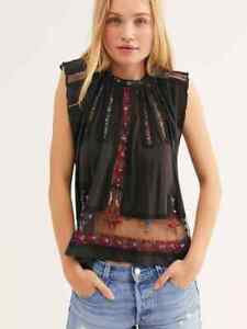 FREE PEOPLE WASHED BLACK MOROCCO EMBROIDERED TOP TANK (SIZE L) RRP £88