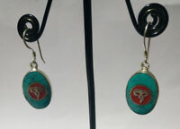 Regional Sterling silver earring Handmade Asian jewelry Turquoise stone DM9