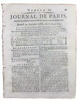 Nîmes en 1788 Gard Rare Journal de Paris Daquin de Château Lyon Boucher d'Argis