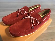 595$ Tod's Red Suede Laccetto City Gommini Drivers Size US 10 Made In Italy