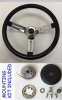 "Chevelle Nova Impala Black Chrome Spoke Steering Wheel Black/Red Bowtie 13 1/2"""