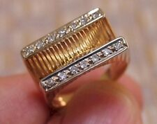 VINTAGE 14K YELLOW GOLD STREAMLINE MODERNE DIAMOND RING (circa 1920-1935)
