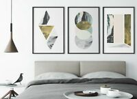 Set of 3 Peach Grey Mint Abstract Marble Home Poster Print Black Dec Wall Art