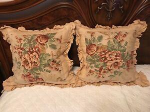 FAB! Ralph Lauren Grosvenor Cream Hemp Linen w Floral Pair Decorative Pillows US