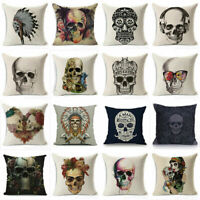 18'' Vintage Skull Cotton Linen Cushion Cover Throw Waist Pillow Case Home Decor