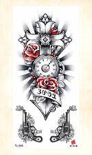 US Seller- waterproof face decor  gun clock cross temporary tattoo