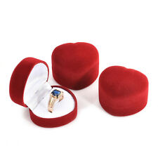 1pc Red heart shape Velvet Jewelry Storage Box Engagement Ring Display Case