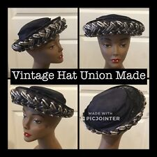Vintage Ladies Hat 20 1/2� Dark Blue Linen Blue/White Straw Weave Union Made (7)