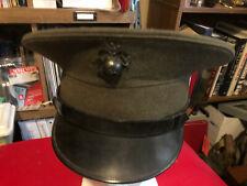 USMC Marine Corps Gray/Green Service Uniform Visor Cover 1958 Hat Cap post KW