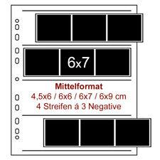 100 x Mittelformat Negativarchiv Hüllen - MF Negativ Archiv Hülle Archivhülle