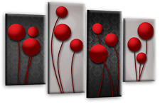 Abstract Floral Wall Art Picture Grey Red Canvas Print Multi Panel