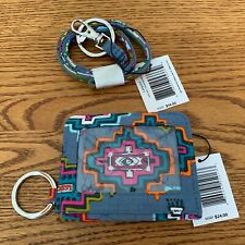 Vera Bradley Painted Medallions CAMPUS DOUBLE ID CASE AND LANYARD wallet gray