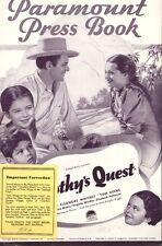 TIMOTHY'S QUEST pressbook 1936, Eleanore Whitney, Tom Keene, Dickie Moore