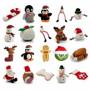Ancol Christmas XMAS Dog Toys Soft Plush Gift Present Santa Reindeer Penguin