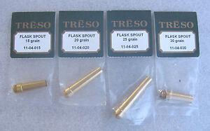 Treso Powder Flask Spout Set - 15, 20, 25 & 30 Grains - Brass -Fits Most Flasks
