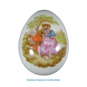 Limoges Oeuf Romantique Courting Couple Scene