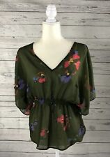 Women's Mossimo Olive Green Floral Semi-Sheer Bohemian Peasant Top-Size S