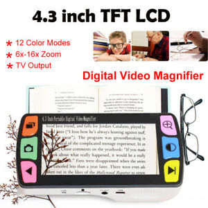 "4.3""Video Magnifier Digital Handheld 6-16x/Low Vision 12 Color Modes Reading Aid"