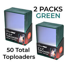 Ultra PRO 3x4 Regular GREEN Toploaders - 2x25 packs = 50 TOPLOADERS - FREE SHIP