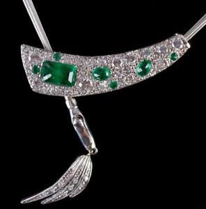 14k White / Rose Gold Emerald Cut Emerald & Diamond Custom Necklace 2.34ctw