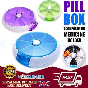 7 Day Travel Pill Box Medicine Tablet Storage Vitamin Dispenser Organiser Holder