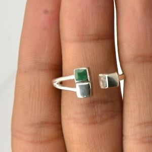 Emerald Gemstone Ring Size 8 925 Sterling Silver Jewelry For Women KB14768