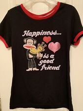 Paul Frank Monkey Happiness Is A Good Friend Junior XL Tee Black
