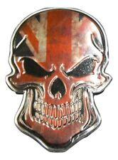 Union Jack Skull Metal Badge Emblem Self Adhesive Brand New