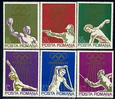 1972 München Olympics,Fencing,Water polo,Discus,Shooting,Romania,M.3035,CV$9,MNH
