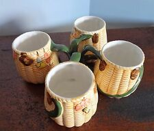 VTG Fisherman Creel Basket Pottery Coffee Mugs Fly Fishing Lures Set Of Four NEW