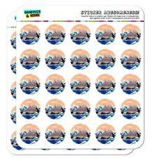 Waving Manatee Mermaid On Rocks Waves Planner Calendar Scrapbooking Stickers