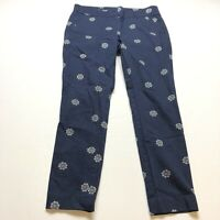 Loft Modern Skinny Ankle Blue Floral Medallion Print Pants Sz 10 A1890
