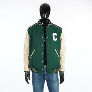 CELINE 2850$ Loose Teddy Jacket In Green Wool With Leather Details