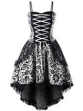 Plus Size XL-5XL Women Dress Strap Lace Up Dip Hem Corset Evening Party Dress