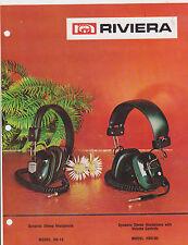 VINTAGE AD SHEET #2409 - 1973 RIVIERA ELECtRONICS - DYNAMIC HEADPHONES