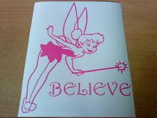 pink tinkerbell believe fairy dust girls girly vinyl car sticker wall art laptop