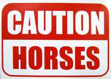 Caution Horses Sticker X2. Visible warning vinyl sticker, sign for Horse owners.