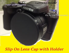 SLIP-ON FRONT LENS CAP DIRECTLY TO CAMERA FUJI S8600 S8630 S8650 FINEPIX+HOLDER