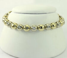 Diamond bubble bracelet 14K 2 tone gold round brilliant bezel 1.20CT extra links
