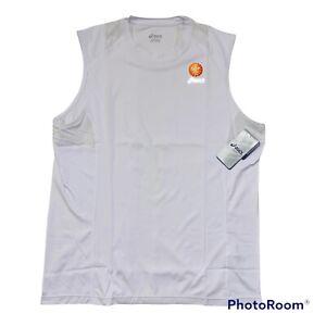 Asics Favorite SL Running Gym Shirt Tank Top White/UV Protection Men's Sz Medium