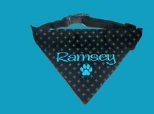 PERSONALISED DOG BANDANA and COLLAR MEDIUM SIZE ANY NAME embroidery -Clothing