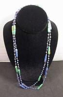 "Art Deco Czechoslovakia Flapper Necklace Blue & Green Speckled Beads 51"""