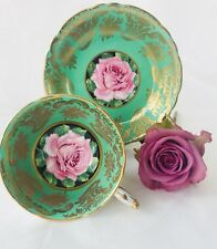 Paragon Green Tea cup and Saucer, w/ Pink Cabbage Rose center Pattern A1695 Rare