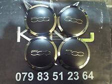 4 X GENUINE FIAT 500 ALLOY WHEEL CENTER CAP COVER CHROME + MATTE BLACK 52057991