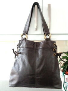 Laura Ashley Dark Brown Leather Tote Shoulder Bag