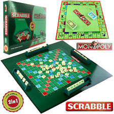 2-1 SCRABBLE + MONOPOLY FAMILY BOARD PARTY KID TRAVEL GAME SET TOY 2-4 PLAYERS